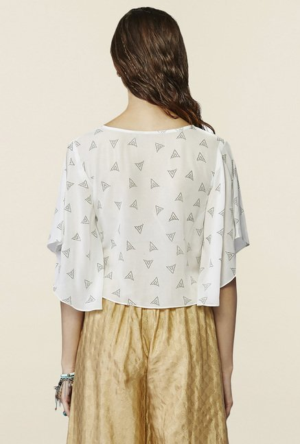 Global Desi Off White Printed Crop Top