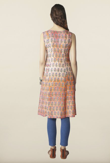 Global Desi Orange Floral Print Kurti