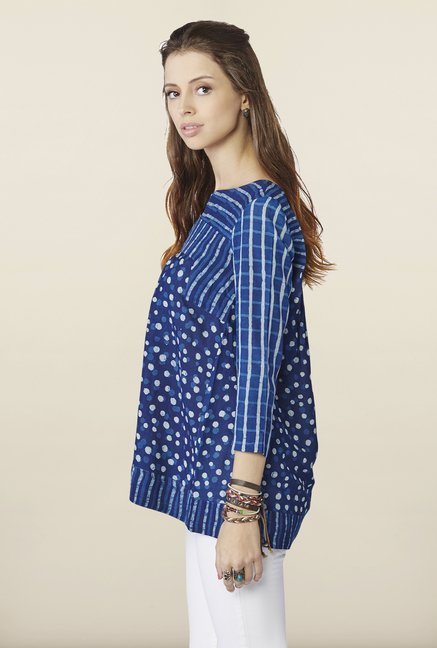 Global Desi Blue Printed Cotton Top