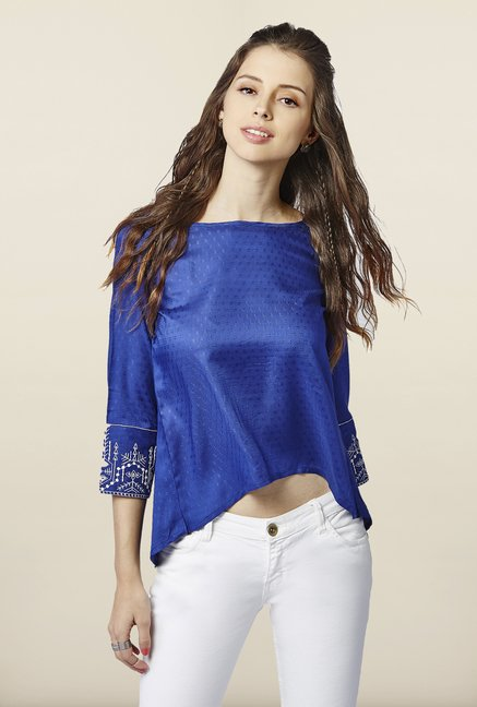 Global Desi Blue Self Printed Top