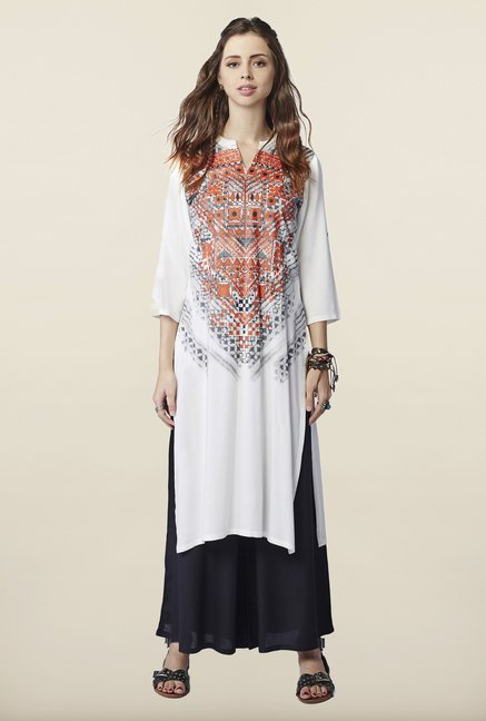 Global Desi White Printed Kurti