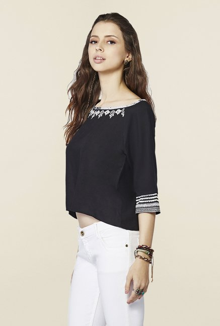 Global Desi Black Solid Top