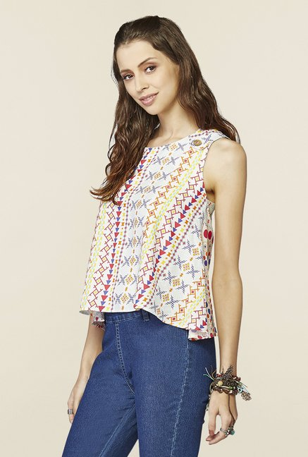 Global Desi White Printed Regular Fit Top