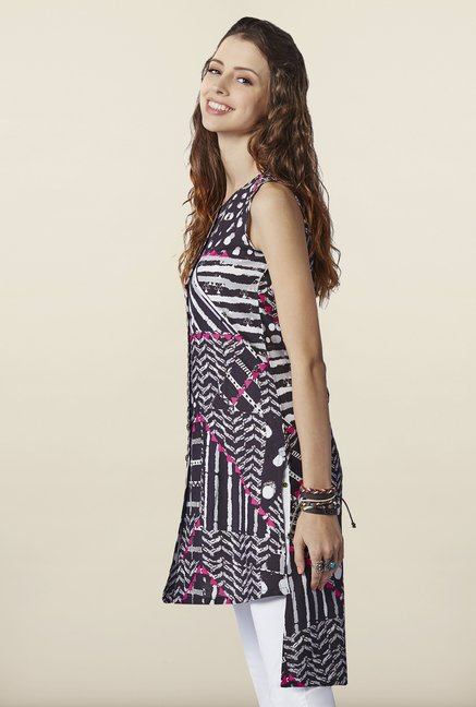 Global Desi Black High Low Tunic