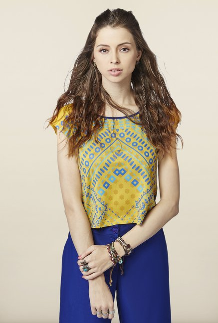 Global Desi Mustard Printed Crop Top