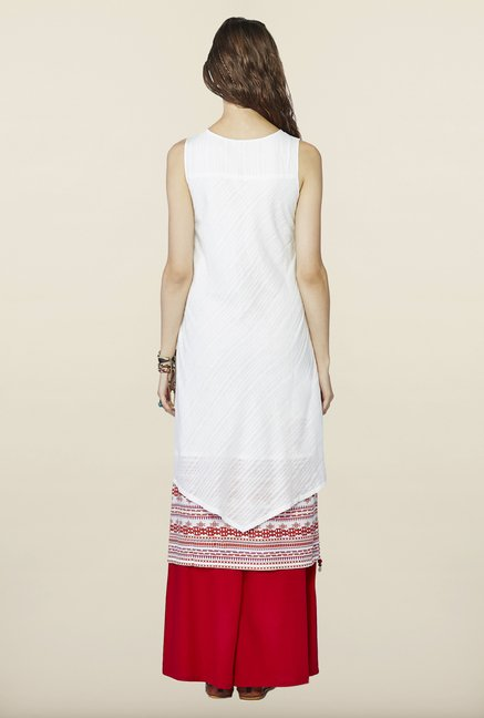 Global Desi Cream Printed Kurti