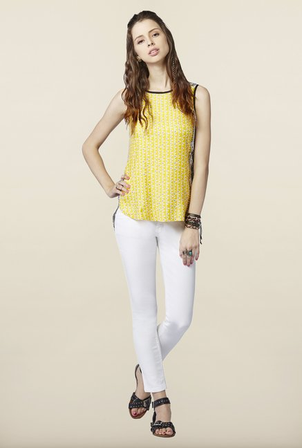 Global Desi Yellow & White Tribal Printed Top