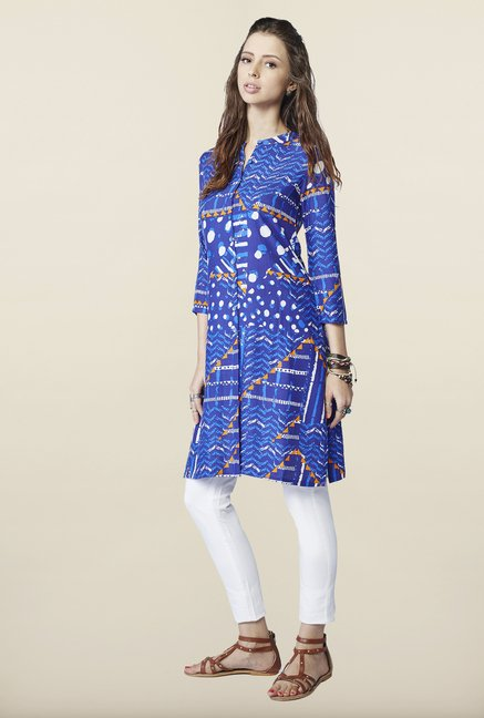 Global Desi Blue Regular Fit Kurti