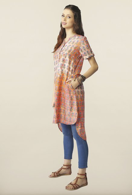 Global Desi Orange High Low Printed Tunic