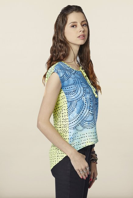 Global Desi Blue & Lime Ombre Top