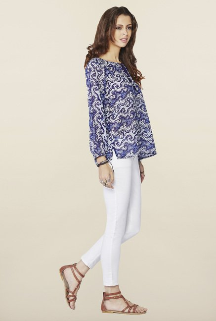 Global Desi Blue Printed Regular Fit Top