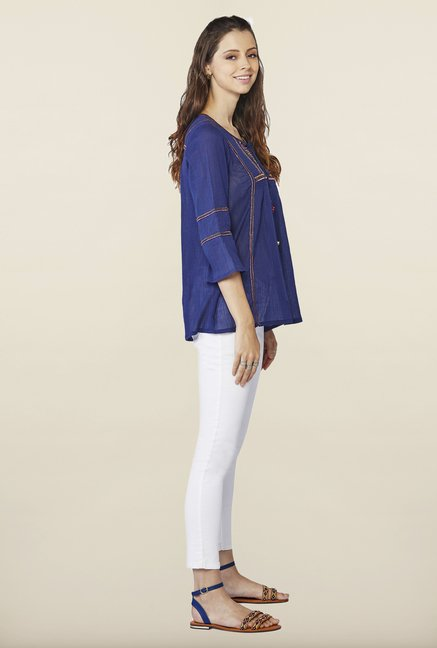 Global Desi Indigo Solid Regular Fit Top