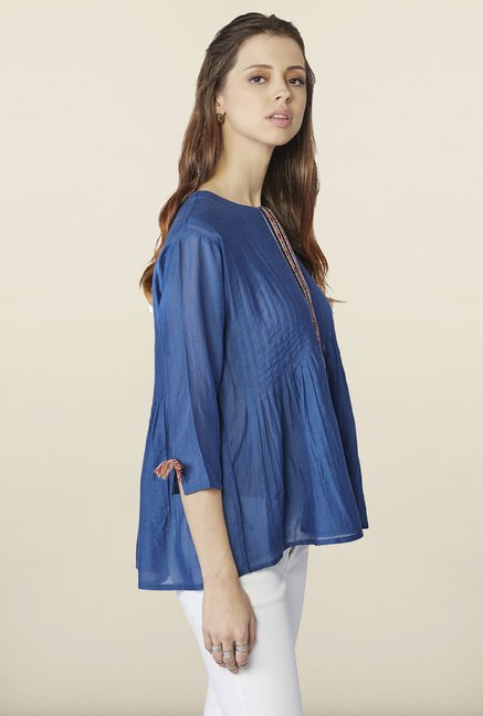 Global Desi Indigo Solid Cotton Top