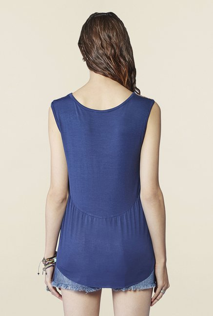 Global Desi Indigo Sleeveless Top