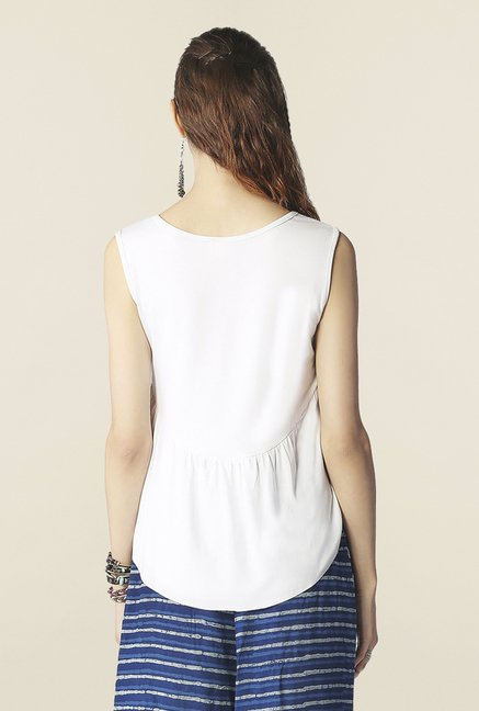 Global Desi White Solid Top