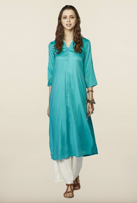 Global Desi Sea Green Printed Kurta