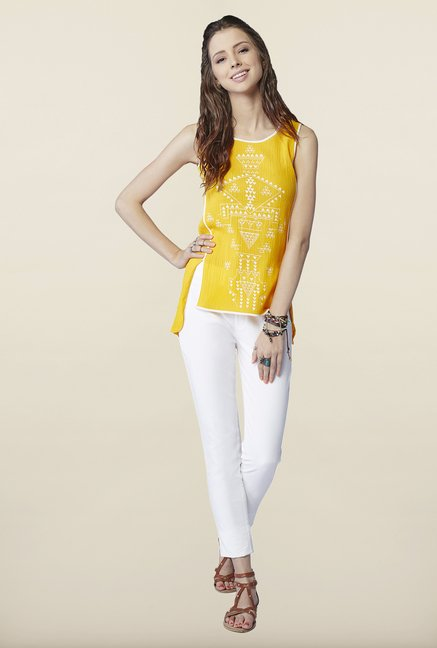 Global Desi Yellow Tribal Printed Top