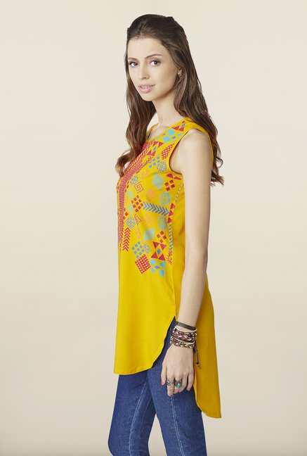 Global Desi Mustard Printed Sleeveless Tunic