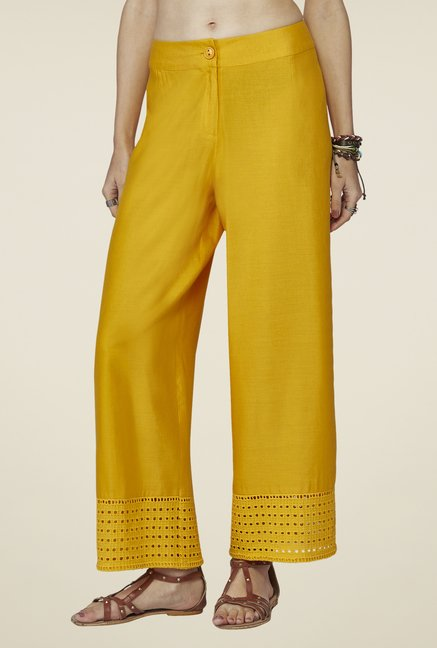 Global Desi Mustard Solid Hakoba Pants