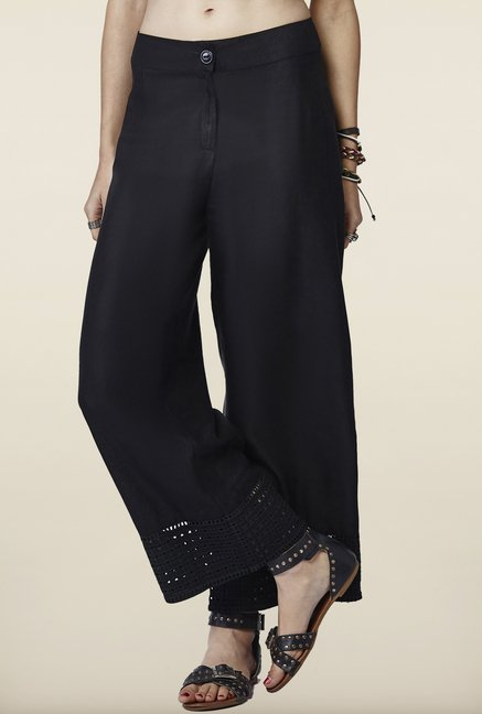 Global Desi Black Solid Hakoba Pants