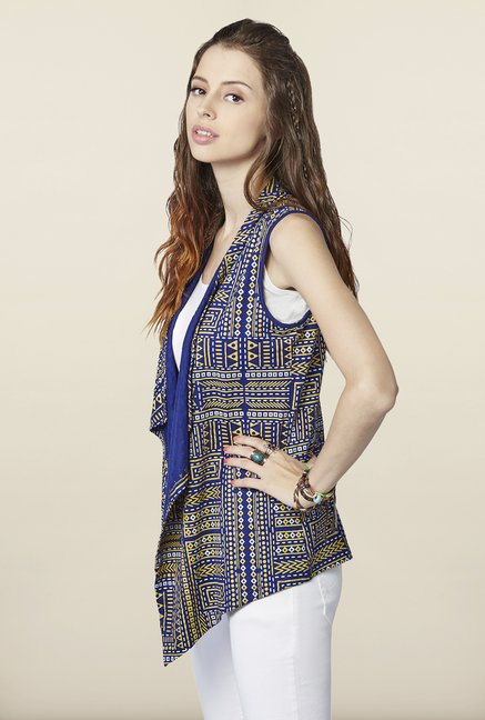Global Desi Indigo Printed Shrug
