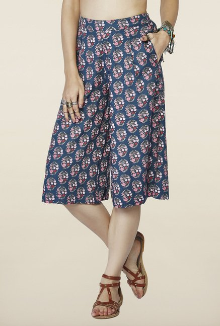 Global Desi Blue Printed Relaxed Fit Culottes
