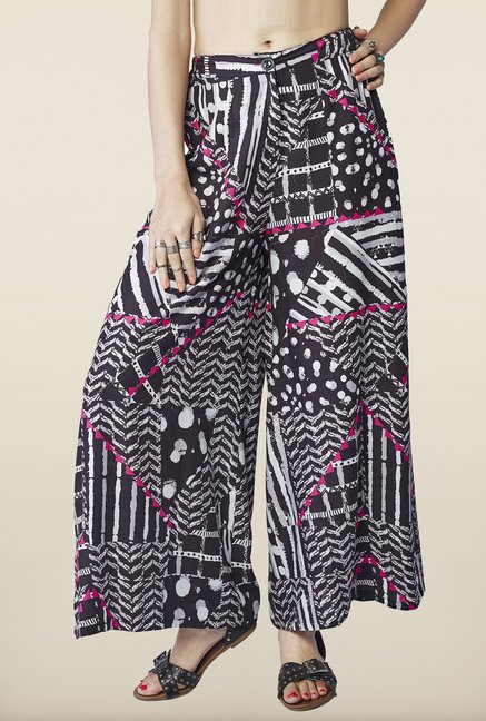 Global Desi Black Printed Palazzo