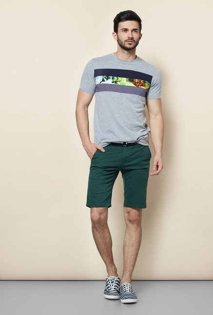 Easies Grey Printed Casual T-Shirt
