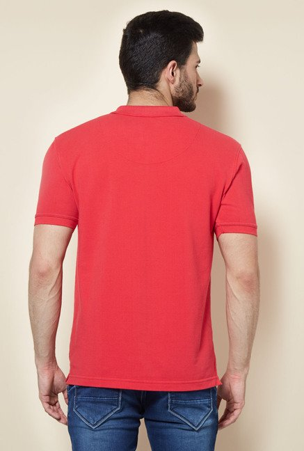 Easies Red Printed Polo T-Shirt