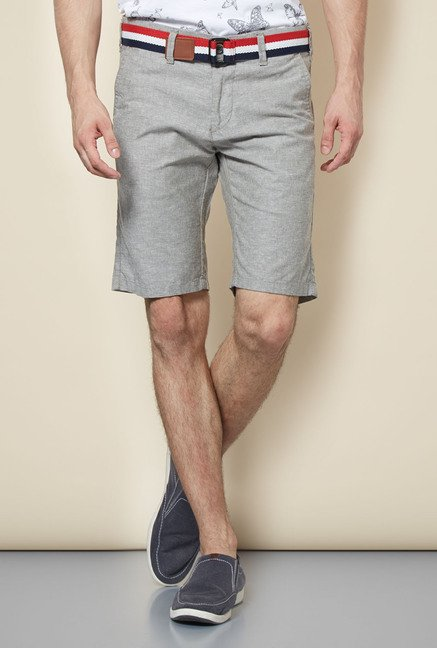 Easies Light Grey Solid Shorts