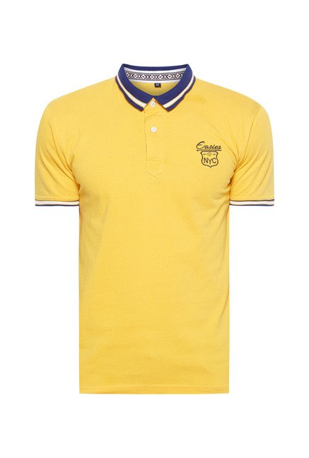 Easies Yellow Solid Polo T-Shirt