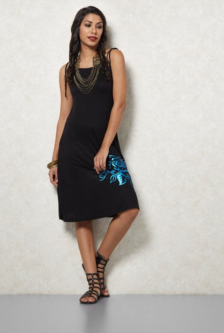 Ira Soleil Black Solid A Line Dress