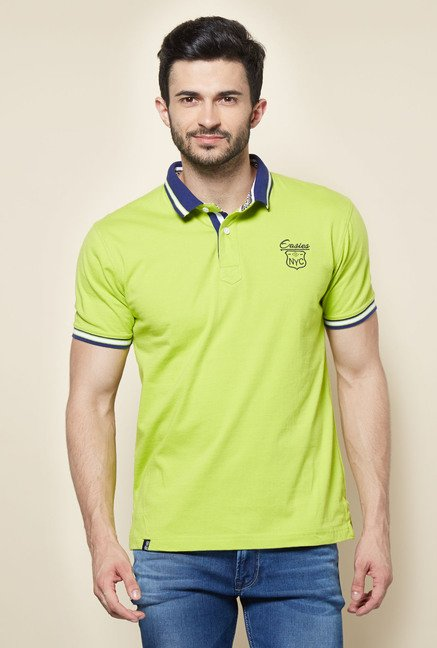 Easies Green Solid Polo T-Shirt