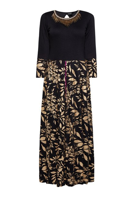 Ira Soleil Black Floral Printed Dress