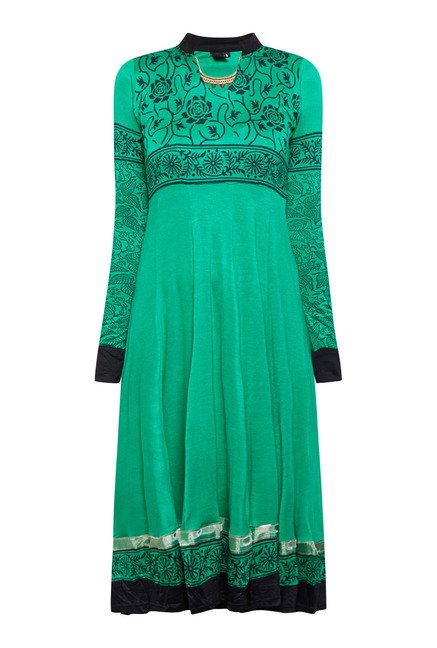 Ira Soleil Green Floral Printed Dress