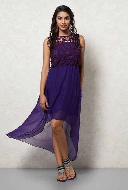 Ira Soleil Purple High Low Dress