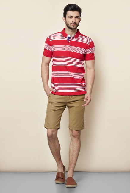 Easies Red Stripes Casual Polo T-Shirt