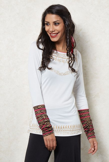 Ira Soleil Off White Printed Tunic