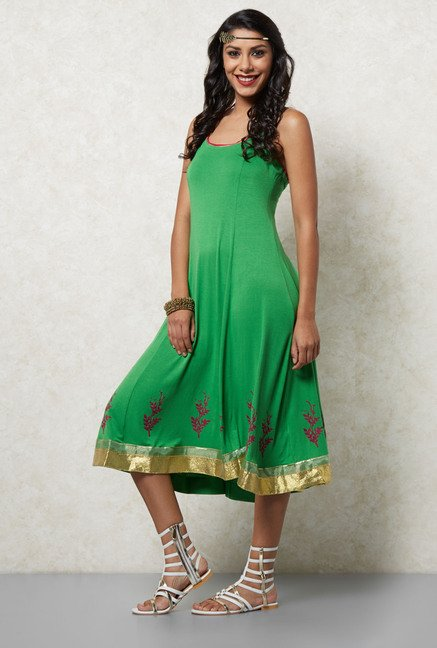 Ira Soleil Green A Line Dress