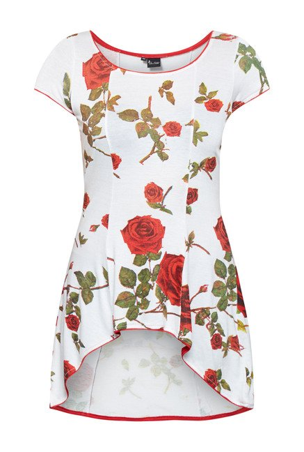Ira Soleil Off White Floral Printed Tunic