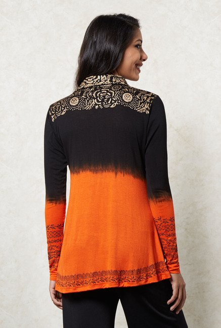 Ira Soleil Orange & Black Ombre Top