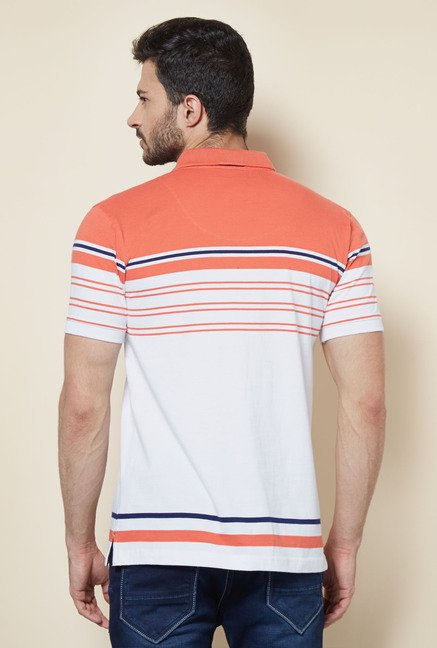 Easies Orange Solid Casual Polo T-Shirt