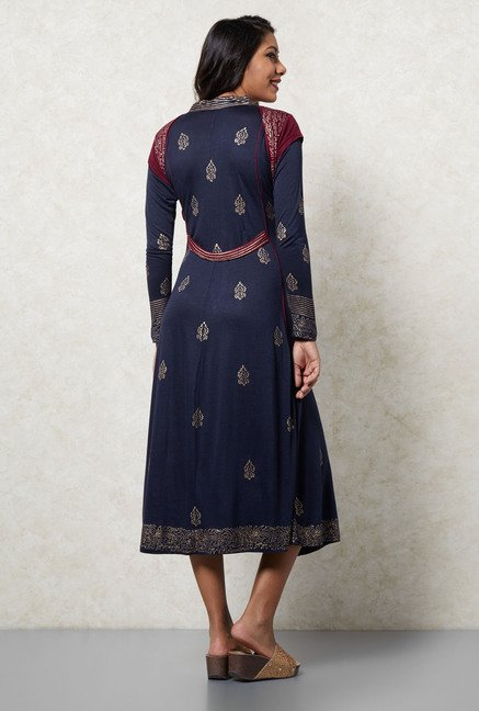 Ira Soleil Navy Printed Dress