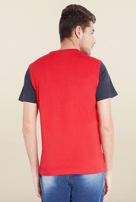Parx Red Solid Cotton T-Shirt