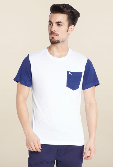 Parx White Solid Cotton T-Shirt