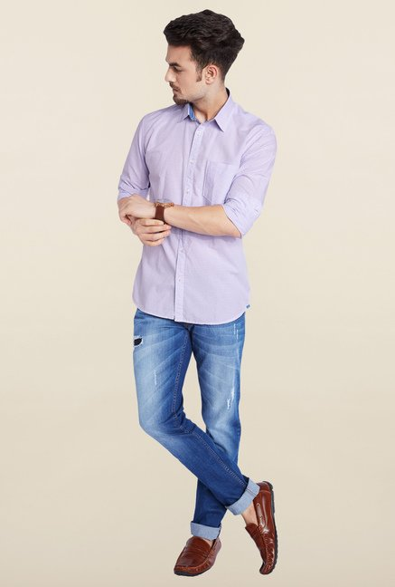 Parx Violet Striped Casual Shirt
