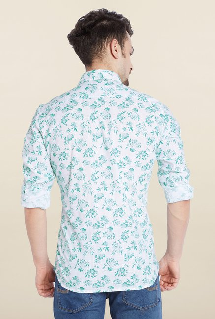 Parx Green Printed Casual Shirt