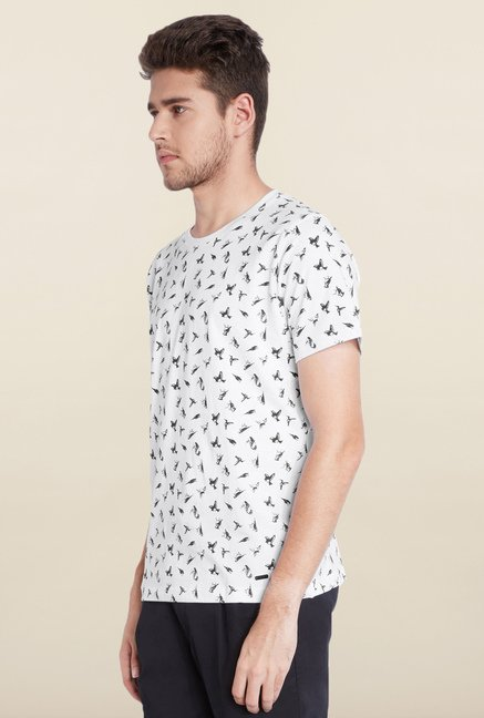 Parx White Printed Cotton T-Shirt