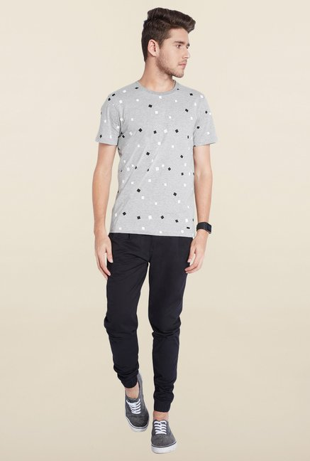Parx Grey Printed Cotton T-Shirt