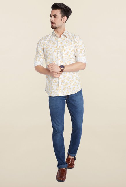 Parx Yellow Printed Casual Shirt